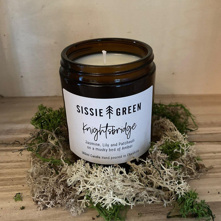 """Knightsbridge"" Handpoured Soy Wax candle 180ml by Sissie Green - www.wicksandreeds.com"
