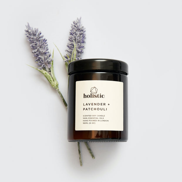 Relaxing Lavender & Patchouli Vegan Soy Wax Candle Made in London