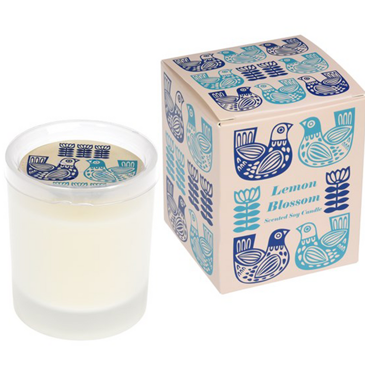 Lemon blossom natural Soy wax candle in vintage dove design gift box