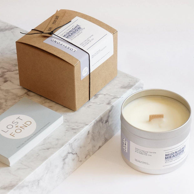 Lavender & Sweet Orange Scented Soy Wax Candle with Wood Wick in Gift Tin - www.wicksandreeds.com