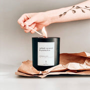 Salted Caramel & Pistachio Handpoured Soy Wax Candle - Made in London - www.wicksandreeds.com
