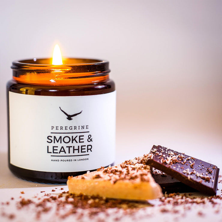 Hickory Wood Smoke & Leather Hand Poured Soy Wax & Natural Oils Candle - www.wicksandreeds.com