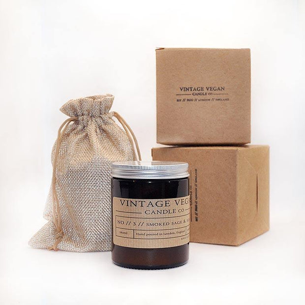 Smoked Sage & Sea Salt - Hand Poured Vegan Candle 40 Hours Burn Time - www.wicksandreeds.com