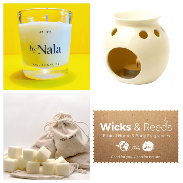 Classic Style Wax Melt Burner Gift Set with Handmade Scented Wax Cubes & Aromatherapy Candle