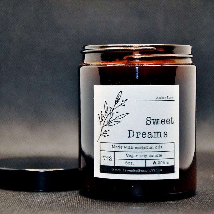 Lavender & Vanilla Scented Soy Candle in an Amber Glass Jar - www.wicksandreeds.com