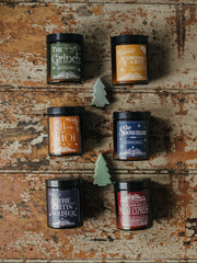 """A Christmas Carol"" - Christmas Story Edition Amber Jar Candle in stocking - www.wicksandreeds.com"