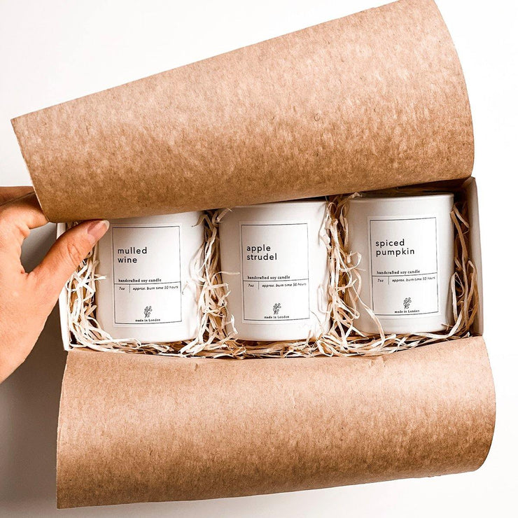 Autumn 3 Scented Candle Gift Set: Spiced Pumpkin, Apple Strudel & Mulled Wine - www.wicksandreeds.com