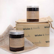 Lavender Scented Soy Wax Vegan Candle in an Amber Glass Jar - www.wicksandreeds.com