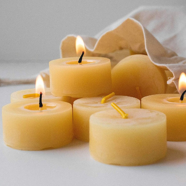100% Beeswax Tealight Candles - Handmade Eco Refills - 5 sizes available.