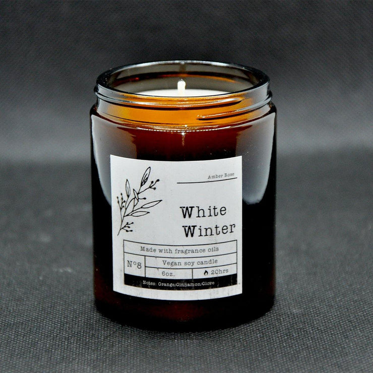 Cinnamon & Clove Scented Christmas Soy Candle in an Amber Glass Jar - www.wicksandreeds.com
