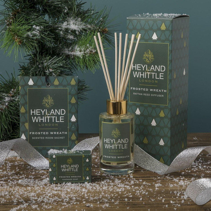 Frosted Wreath scented Christmas candle by Heyland & Whittle - www.wicksandreeds.com
