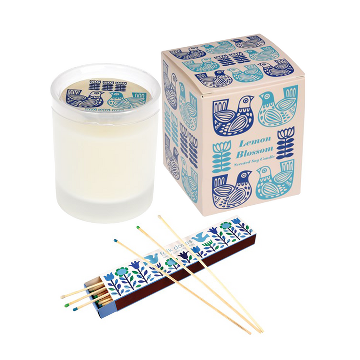 Lemon Blossom scented candle & matches gift set