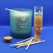 Luxury Blue Tip Long Candle Matches in Glass Jar - www.wicksandreeds.com