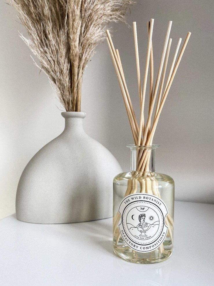 Amber & Cedarwood Scented Glass Reed Diffuser Handmade in Cambridge - www.wicksandreeds.com