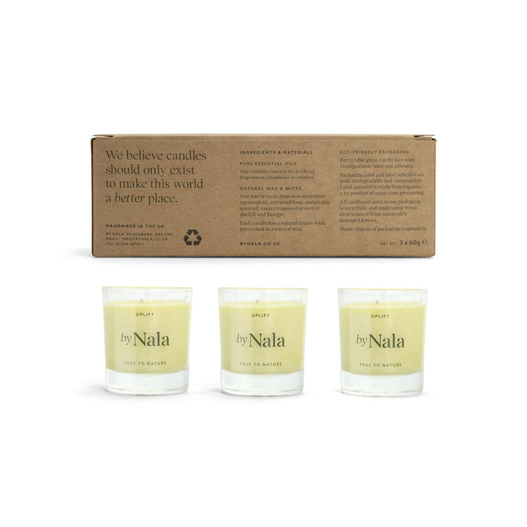 Uplift - scented natural candle trio gift set - By Nala