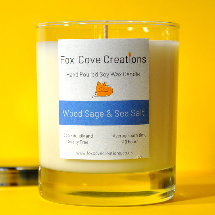 Wood Sage & Sea Salt Vegan Soy Wax Scented Candle - Handmade in UK