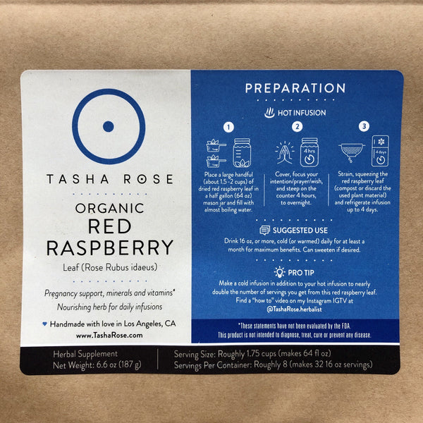 Organic Red Raspberry - Daily Nourishing Infusion Tasha Rose
