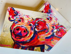 Happy Pig Folded Notecards
