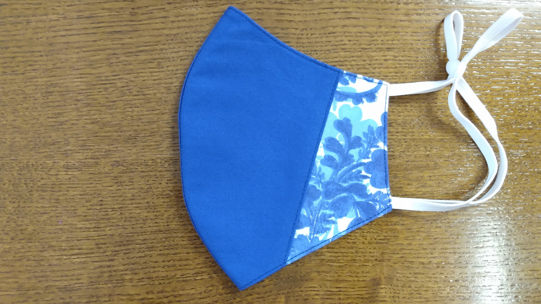 Bluemask With Stylized Blue Floral Side Panels