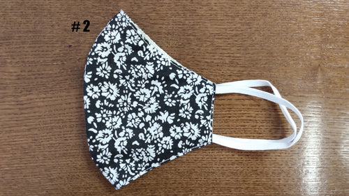 Black with whit floral pattern mask