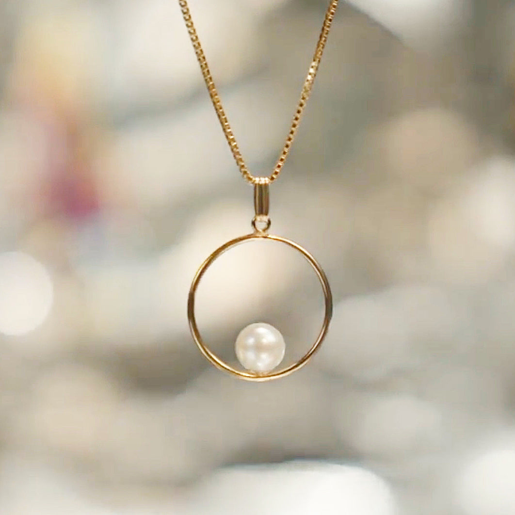 Pearl in 14/20 GF round pendant