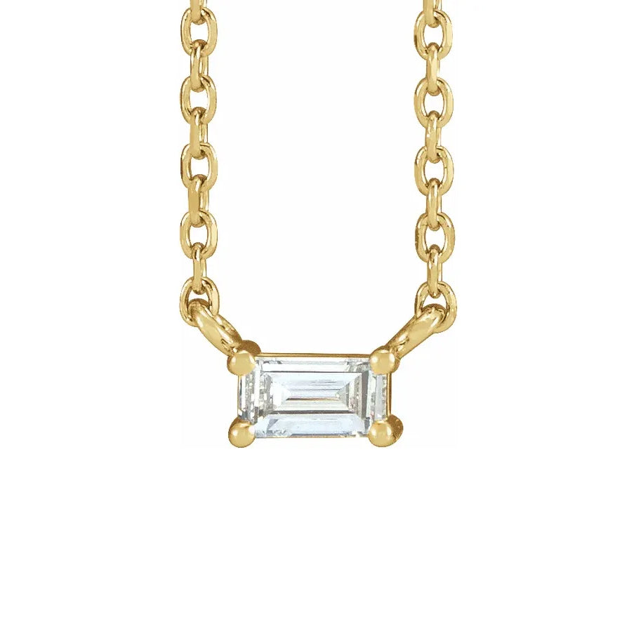 "14K Yellow Gold .07 CT Diamond Solitaire 16"" Necklace"