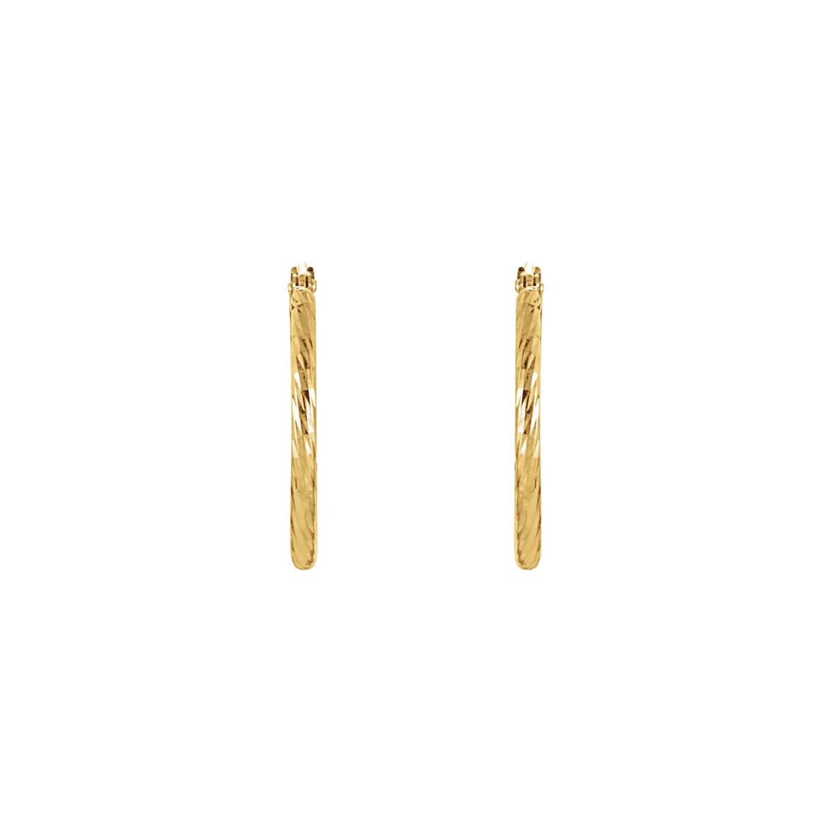 14K Yellow Gold 25.5 mm Diamond-Cut Hoop Earrings