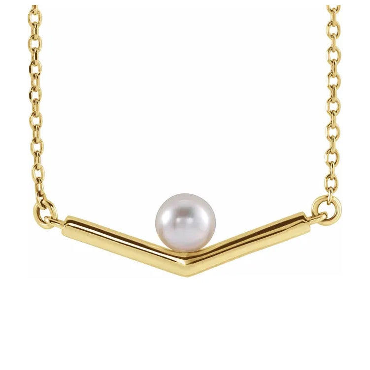 "14K Yellow Gold Cultured Akoya Pearl V 18"" Necklace"