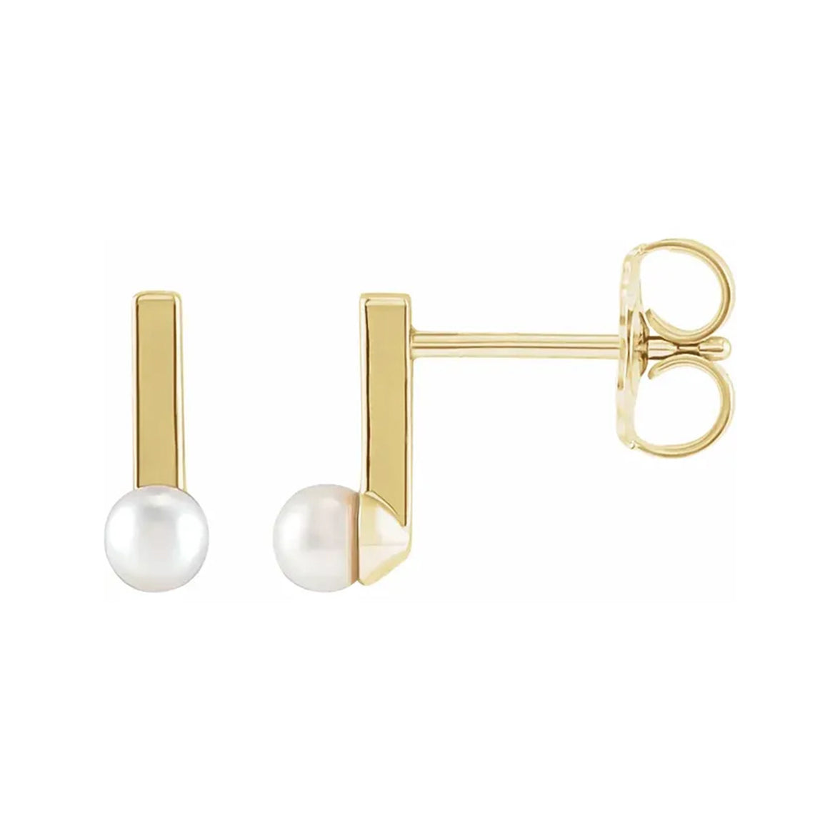 14K Yellow Gold Cultured Seed Pearl Bar Earrings