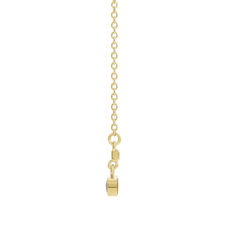 "14K Yellow Gold Diamond Bezel-Set 16"" Bar Necklace"