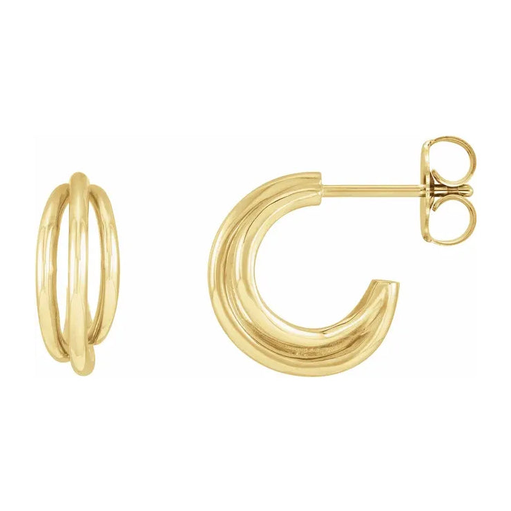 14K Yellow Gold Multi-Layer Hoop Earrings