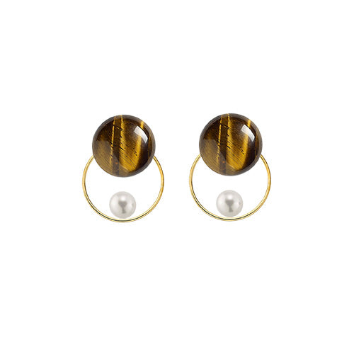 tiger's eye + pearl round GF earrings