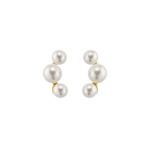14KT Yellow Gold three round Freshwater Cultured Pearl Earrings