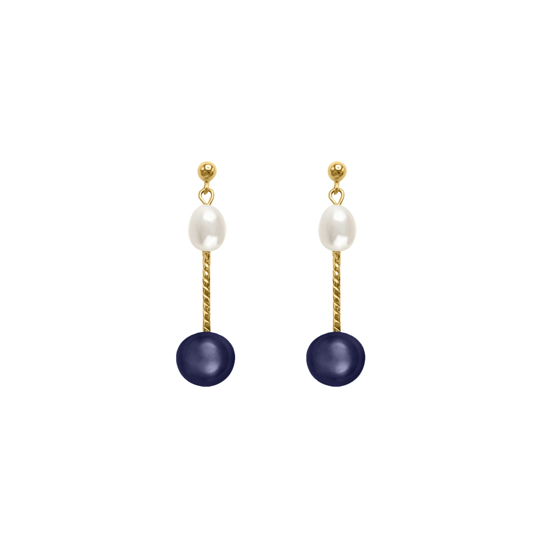 Black and White pearl + GF earring
