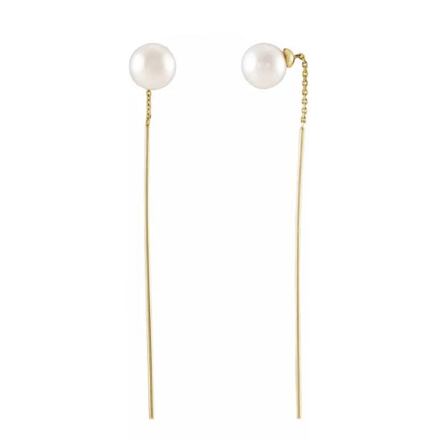 14kt Yellow Gold Pearl Threader Earrings