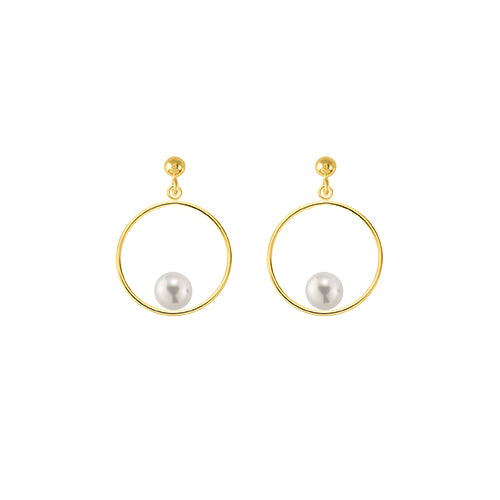 14/20 Yellow Gold Filled Circle Pearl Earring