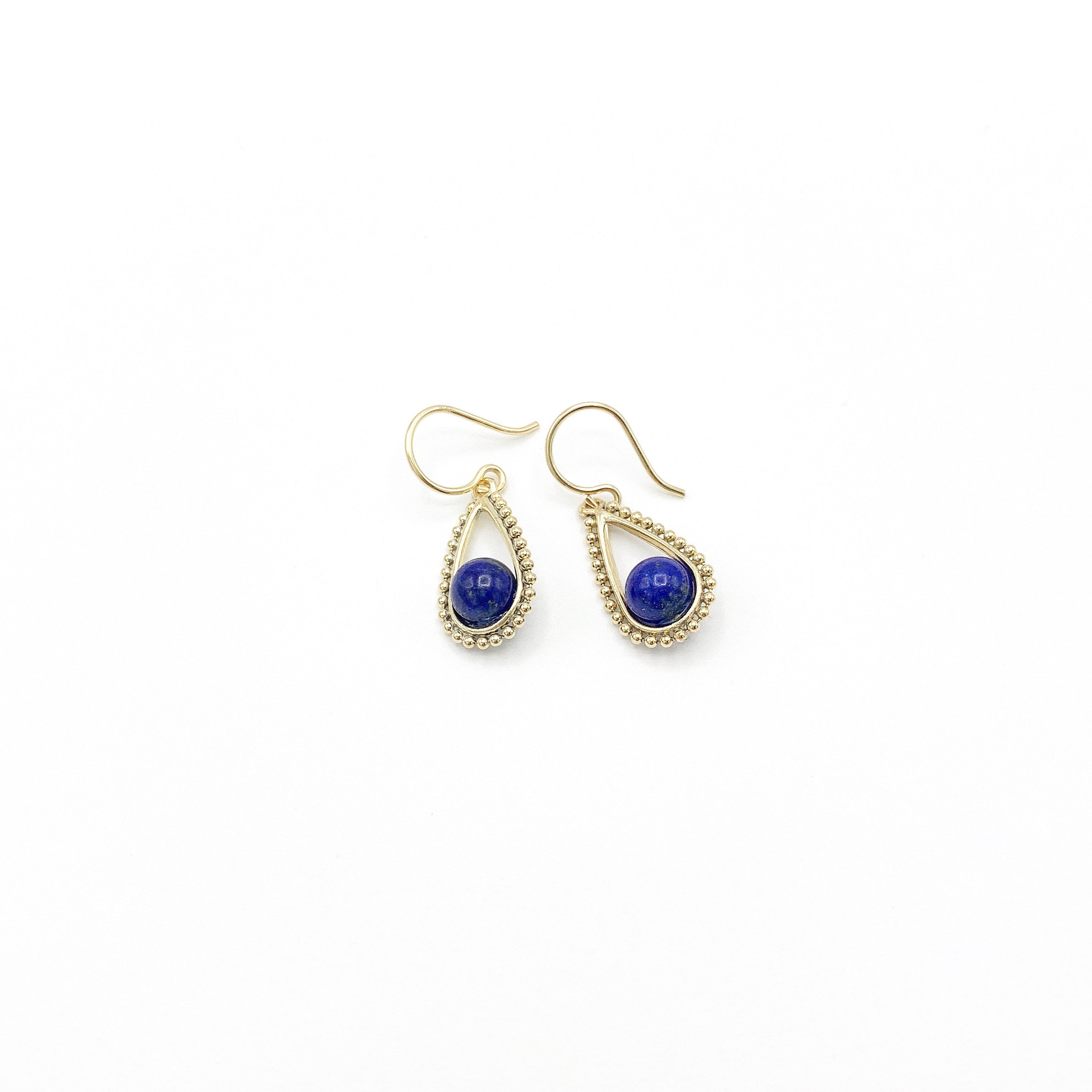 Lapis Lazuli 14/20 Yellow Gold-Filled Beaded Teardrop Earring