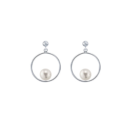 Sterling Silver Circle Round Pearl Post Earring
