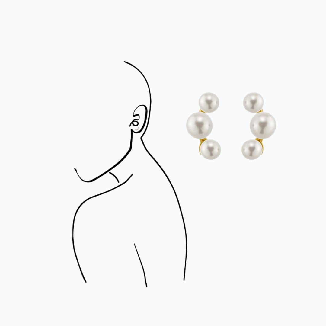 14K Yellow Gold three round Freshwater Pearl Earrings