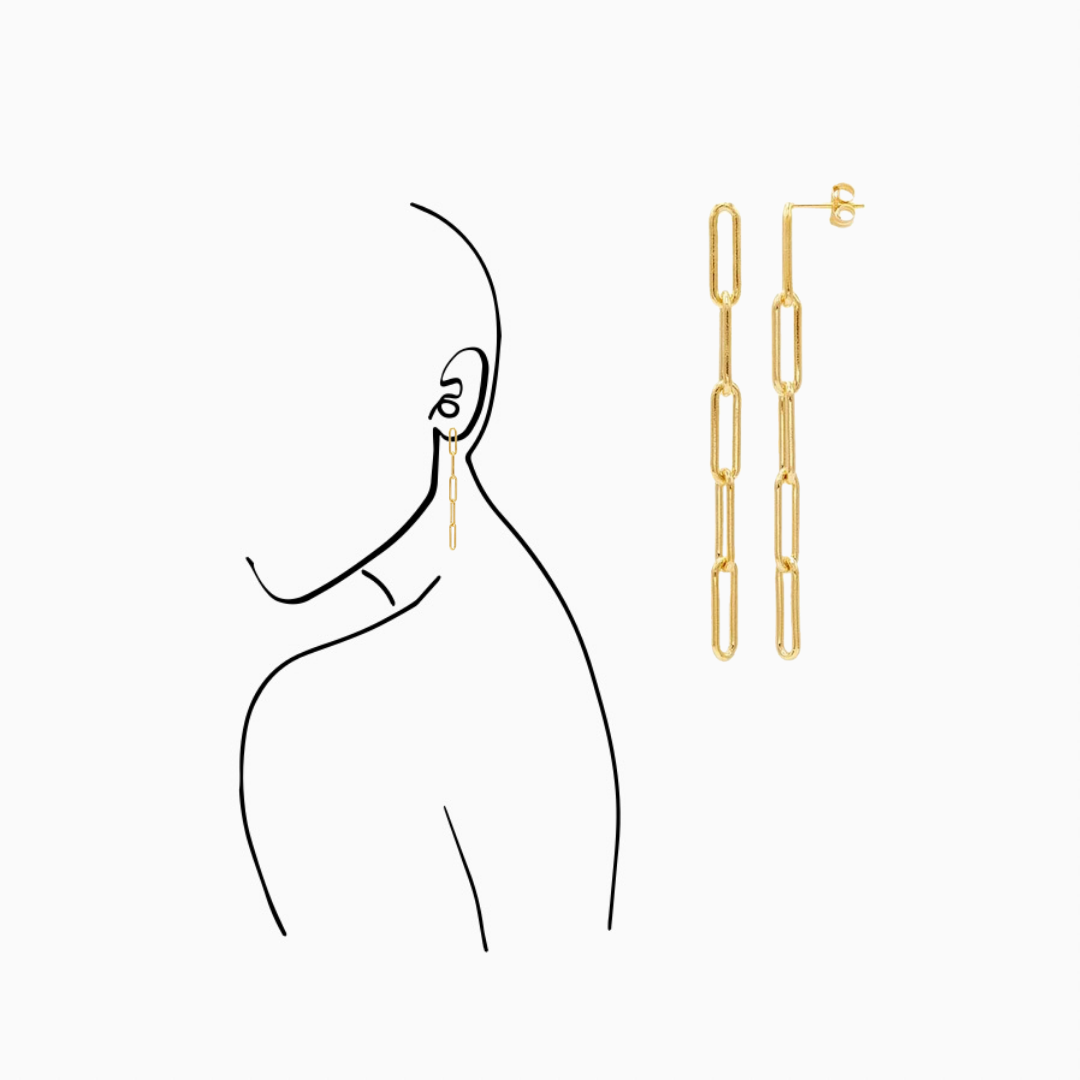 14/20 Yellow gold-Filled Five-Link Paperclip Post Earrings