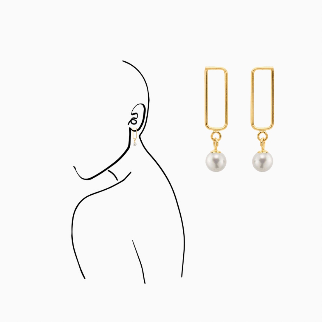 Freshwater pearl 14K Yellow Gold Rectangle Earring