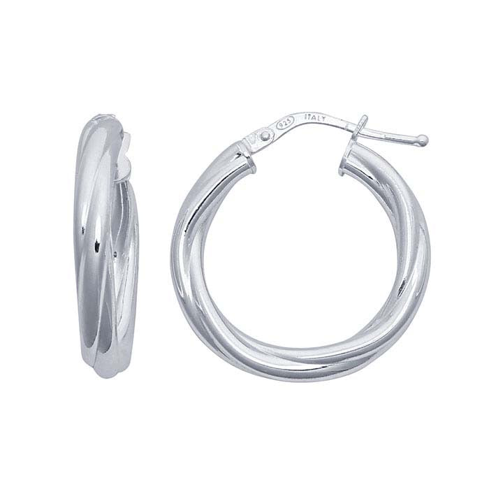 Sterling Silver Twisted Tubing Hoop Earrings