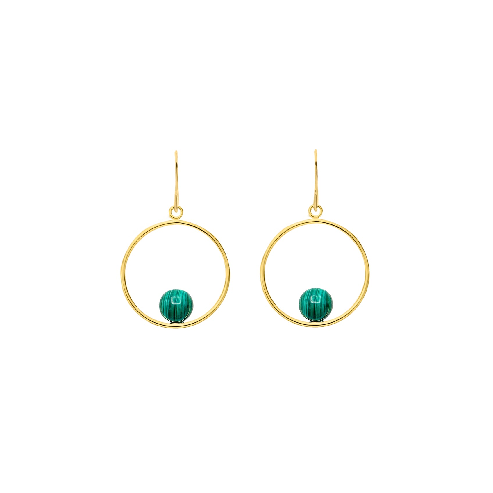 Malachite in GF Round Earring