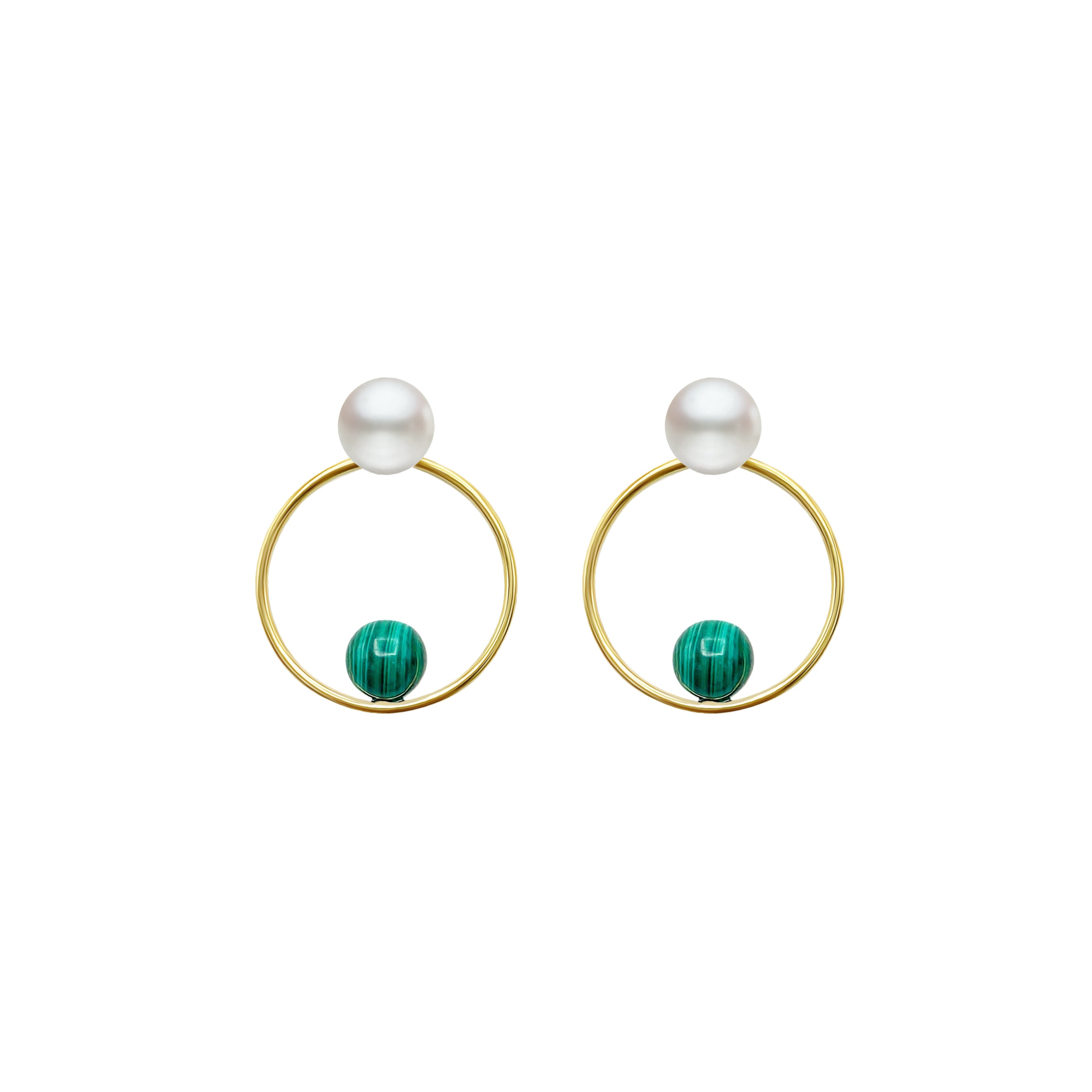 Freshwater Pearl + Malachite in GF Round Earring
