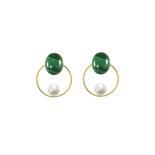 malachite + pearl round 14/20 GF earrings