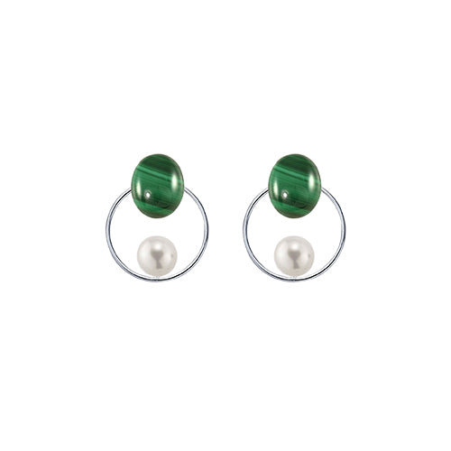 malachite + pearl circle sterling silver earrings