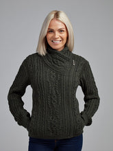 Load image into Gallery viewer, The Ballycroy Aran Knit Side Zip Jacket