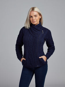 The Ballycroy Aran Knit Side Zip Jacket