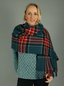 The Galway Teal Wide Scarf Wrap