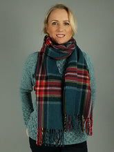 Load image into Gallery viewer, The Galway Teal Wide Scarf Wrap
